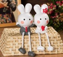 Đôi thỏ thả chân cô dâu chú rể I (7,5x12cm)